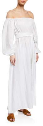 Mara Hoffman Plus Size Malika Off-the-Shoulder Blouson-Sleeve Organic Cotton Maxi Dress