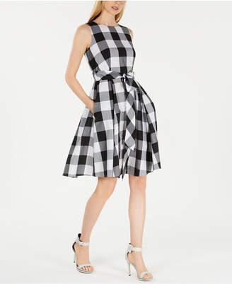 379977a34ce Calvin Klein Buffalo Plaid Belted A-Line Dress