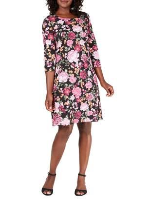Karen Scott Petite Floral-Print Cotton Blend Shift Dress