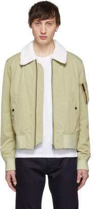 Yves Salomon Beige Fur-Lined Bomber Jacket