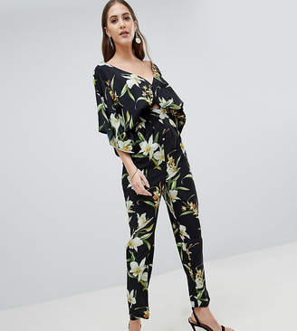 Asos Tall Design Tall Jumpsuit With Kimono Sleeve And Peg Leg In Lily Print