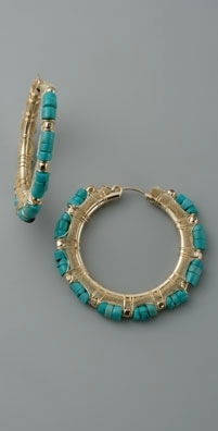 Cynthia Dugan Jewelry Turquoise & Leather Hoops