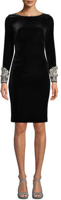 Badgley Mischka Velvet Long-Sleeve Dress w/ Beaded Cuffs