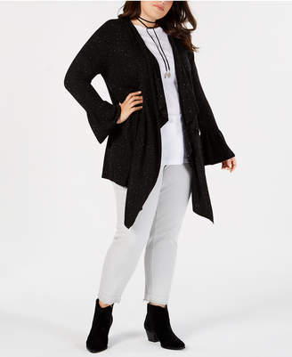 Style&Co. Style & Co Plus Size Ruffled-Sleeve Open-Front Cardigan