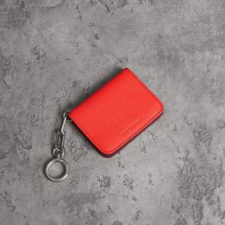 Burberry Link Detail Leather ID Card Case Charm, Red