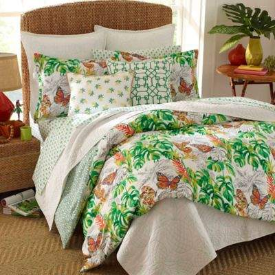 Nine Palms Butterfly Garden Twin Comforter Set in Bright Green