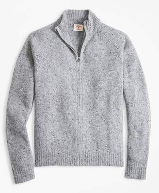 Brooks Brothers Donegal Wool-Blend Zip-Up Sweater