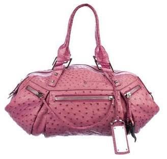 VBH Crocodile-Trimmed Ostrich Bag