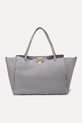 Valentino Garavani Rockstud Medium Textured-leather Tote - Light gray