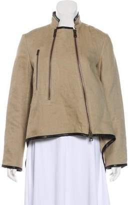Derek Lam Leather-Trimmed Linen Jacket