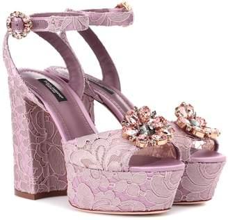Dolce & Gabbana Embellished lace sandals