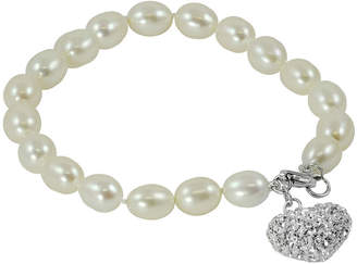 JCPenney FINE JEWELRY Cultured Freshwater Pearl & Crystal Heart Bracelet