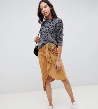 Asos Design DESIGN Tall plisse midi skirt with tie front