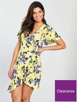 Very Printed Jersey Wrap Dress - Yellow Print