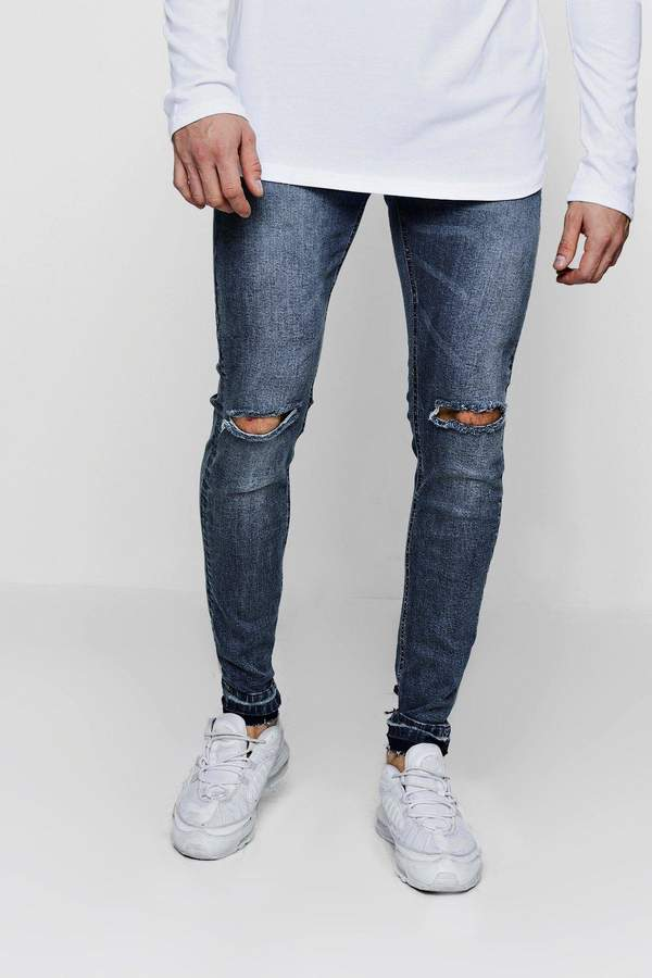 boohoo Skinny Fit Ripped Knee Jeans and Let Down Hem