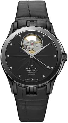Edox Watches Women's Grand Ocean Open Heart Swiss Automatic Leather Strap Watch