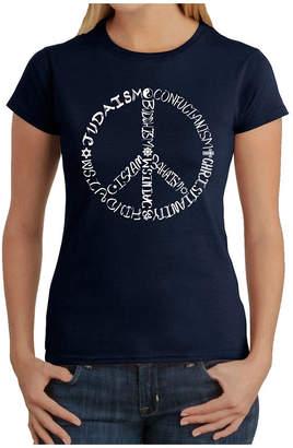 LOS ANGELES POP ART Los Angeles Pop Art Women's T-Shirt - Different Faiths Peace Sign