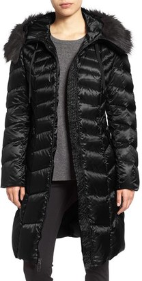 Women's Tahari Emma Quilted Down & Feather Coat With Faux Fur Trim $288 thestylecure.com
