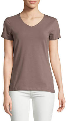Lord & Taylor V-Neck Organic Cotton Tee