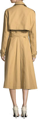 Calvin Klein Double-Breasted Swing Trench Coat with Detachable Sleeves