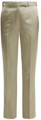 Etro Violante Straight Leg Satin Jacquard Trousers - Womens - Ivory Multi