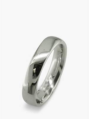 EWA 18ct White Gold 4mm Larger Sized Court Wedding Ring, White Gold
