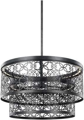 Feiss Arramore 24 Inch Two-Tier Outdoor LED Pendant, Dark Weathered Zinc, White
