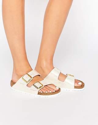 0771b8eb606e Birkenstock Arizona Narrow Fit Shiny Snake Cream Flat Sandals