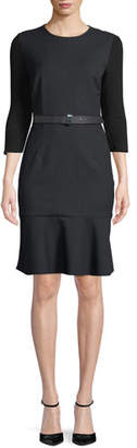 Elie Tahari Storm Jewel-Neck 3/4-Sleeve Belted Pinstripe Dress w/ Flounce Hem