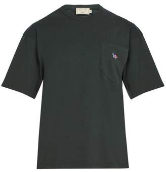 MAISON KITSUNÉ Logo Embroidered Cotton T Shirt - Mens - Green