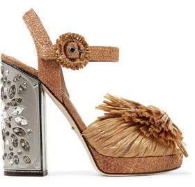 Dolce & Gabbana Embellished Raffia Platform Sandals