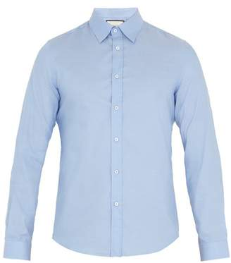Gucci Duke Point Collar Cotton Shirt - Mens - Light Blue