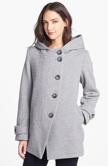 Kristen Blake Asymmetrical Hooded Wool Blend Coat (Nordstrom Exclusive)