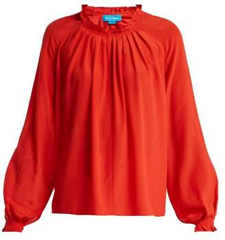 MiH Jeans Sidi Pleated Silk Blouse - Womens - Red