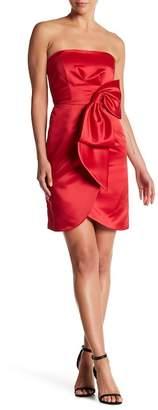 Milly Duchess Satin Bow Strapless Dress