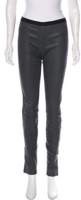 Helmut Lang Leather Mid-Rise Pants