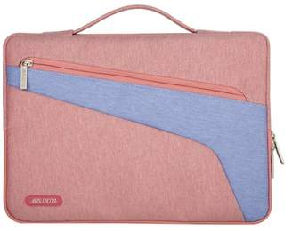 Mosiso Polyester Fabric Multifunctional Sleeve Briefcase Handbag Case Cover for 13-13.3 Inch Laptop, Notebook, MacBook Air/Pro,Pink-Blue