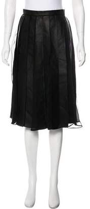 Nicholas Leather Pleated Knee-Length Skirt w/ Tags