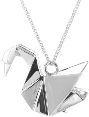 Origami Jewellery Swan Necklace Silver