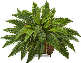 Nearly Natural Boston Fern Artificial Plant in Metal Planter