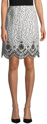 Oscar de la Renta Lasercut Eyelet Hem A-Line Skirt