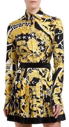Versace Brocade-Print Button-Front Blouse