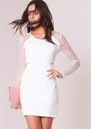 399c001f204 at Missy Empire · Missy Empire Missyempire Corina White Lace Panel Bodycon  Dress