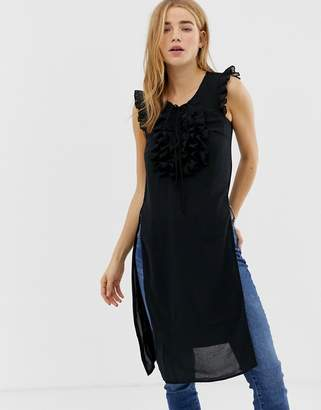 Qed London QED London long tunic top with frill detail