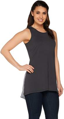 Logo By Lori Goldstein LOGO Lounge by Lori Goldstein French Terry Tank w/ Woven Striped Back
