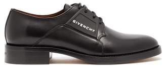 Givenchy Cruz Rubber Logo Leather Derby Shoes - Mens - Black