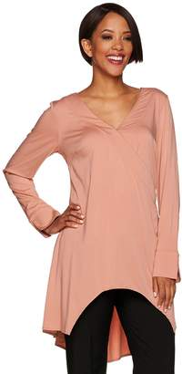 Halston H By H by Long Sleeve V-Neck Wrap Front Tunic