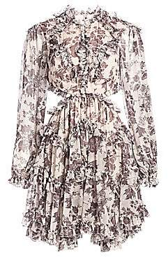 Zimmermann Women's Juno Aged Batik Cutout Silk Dress