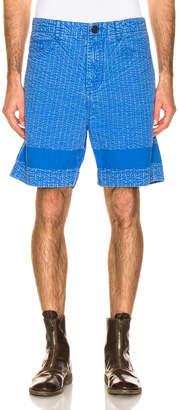 Craig Green Acid Wash Line Stich Shorts in Blue | FWRD
