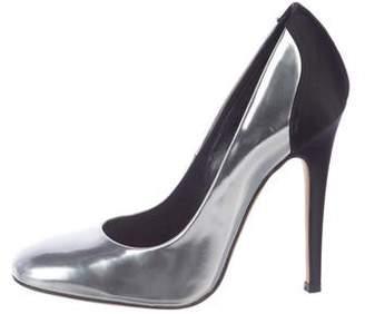Giambattista Valli Square-Toe Metallic Leather Pumps